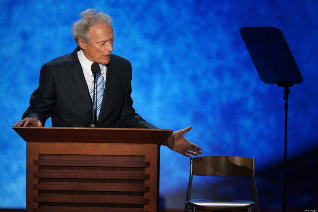TAMPA, FL - AUGUST 30: Actor Clint Eastwood speaks during the final day of the Republican National Convention at the Tampa Bay Times Forum on August 30, 2012 in Tampa, Florida. Former Massachusetts Gov. Mitt Romney was nominated as the Republican presidential candidate during the RNC which will conclude today. (Photo by Mark Wilson/Getty Images)